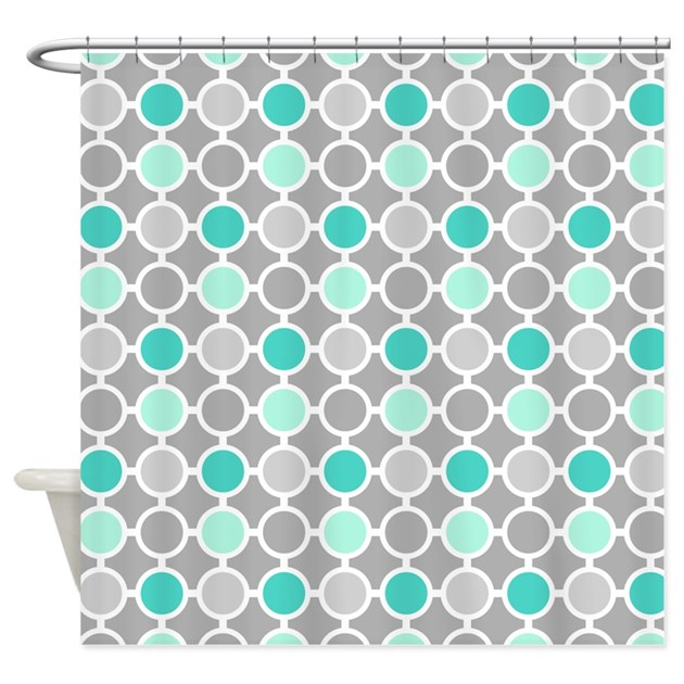 Teal Grey Aqua Circles Pattern Shower Curtain By DreamingMindCards