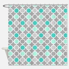Teal Grey Aqua Circles Pattern Shower Curtain