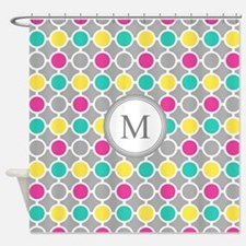 Pink Grey Yellow Circles Monogram Shower Curtain
