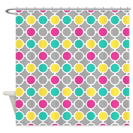 teal and yellow shower curtain. Pink Teal Yellow Circles Pattern Shower Curtain By