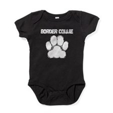 Border Collie Distressed Paw Print Baby Bodysuit
