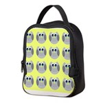 OWLSHOWERCURTAINTILEDYELLOW Neoprene Lunch Bag