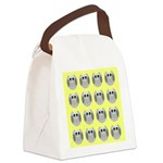 OWLSHOWERCURTAINTILEDYELLOW Canvas Lunch Bag