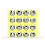 OWLSHOWERCURTAINTILEDYELLOW Postcards (Package of