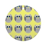 OWLSHOWERCURTAINTILEDYELLOW Ornament (Round)