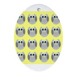 OWLSHOWERCURTAINTILEDYELLOW Ornament (Oval)