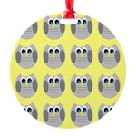 OWLSHOWERCURTAINTILEDYELLOW Ornament