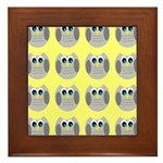 OWLSHOWERCURTAINTILEDYELLOW Framed Tile