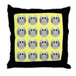 OWLSHOWERCURTAINTILEDYELLOW Throw Pillow