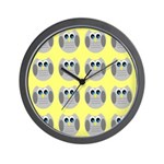 OWLSHOWERCURTAINTILEDYELLOW Wall Clock