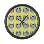 OWLSHOWERCURTAINTILEDYELLOW Large Wall Clock