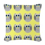 OWLSHOWERCURTAINTILEDYELLOW Woven Throw Pillow
