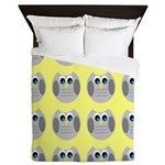 OWLSHOWERCURTAINTILEDYELLOW Queen Duvet