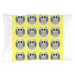 OWLSHOWERCURTAINTILEDYELLOW Pillow Case