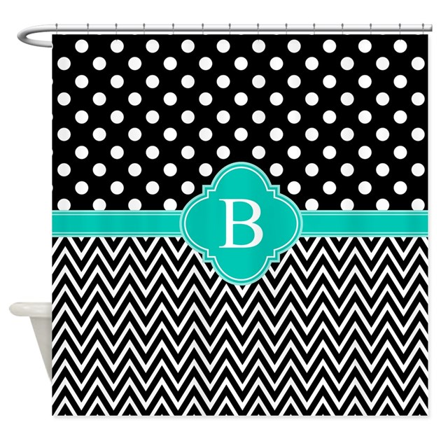 Teal Black White Chevron Dot Shower Curtain By