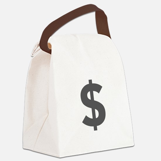 $ Dollar Sign Dark Gray Canvas Lunch Bag