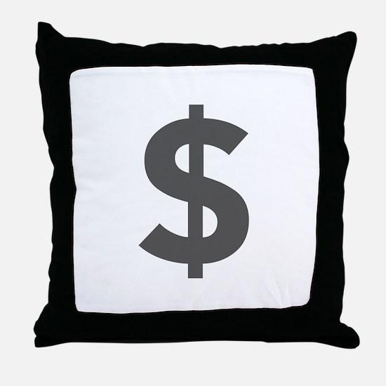 $ Dollar Sign Dark Gray Throw Pillow