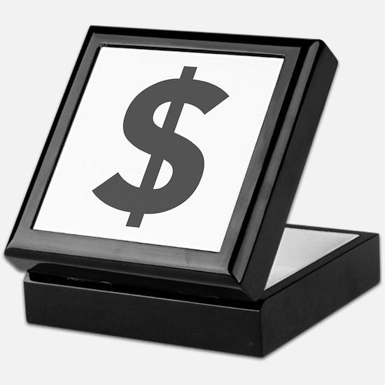 $ Dollar Sign Dark Gray Keepsake Box