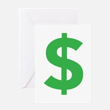 $ Dollar Sign Green Greeting Cards