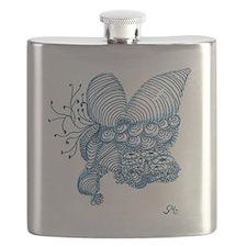 Blue Shells Zentangle Beach Flask