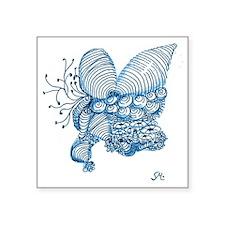 "Blue Shells Zentangle Beach Square Sticker 3"" x 3"""