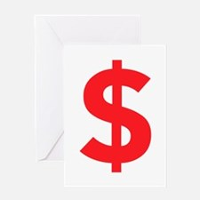 $ Dollar Sign Red Greeting Cards