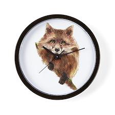 Cute Watercolor Red Fox Animal Wall Clock