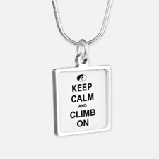 Keep Calm and Climb On Silver Square Necklace