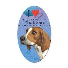 Treeing Walker Oval Car Magnet