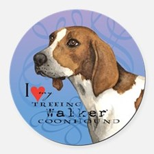 Treeing Walker Round Car Magnet