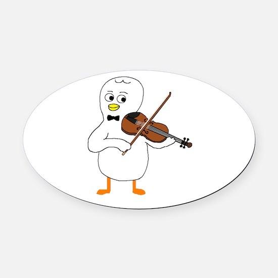 Violinist Oval Car Magnet
