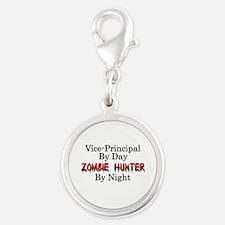 Vice-Principal/Zombie Hunter Silver Round Charm