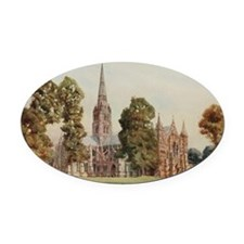 Cathedral at Salisbury, England -  Oval Car Magnet
