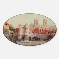 York, England Landscape in Watercol Sticker (Oval)