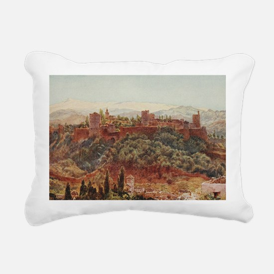The Alhambra at Granada, Rectangular Canvas Pillow