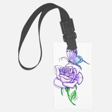 Butterfly with Violet Rose Luggage Tag