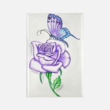 Butterfly with Violet Rose Rectangle Magnet