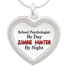 School Psychologist/Zombie H Silver Heart Necklace