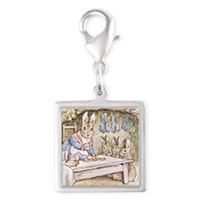 Flopsy, Mopsy, Cotton-tail, a Silver Square Charm
