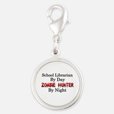School Librarian/Zombie Hunter Silver Round Charm