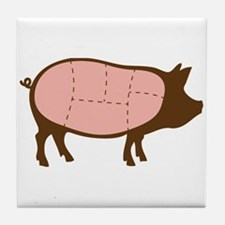 Pig Meat Cuts Tile Coaster