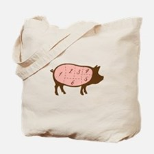 Pig Meat Cuts Numbered Tote Bag