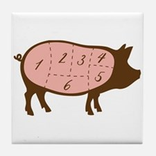 Pig Meat Cuts Numbered Tile Coaster