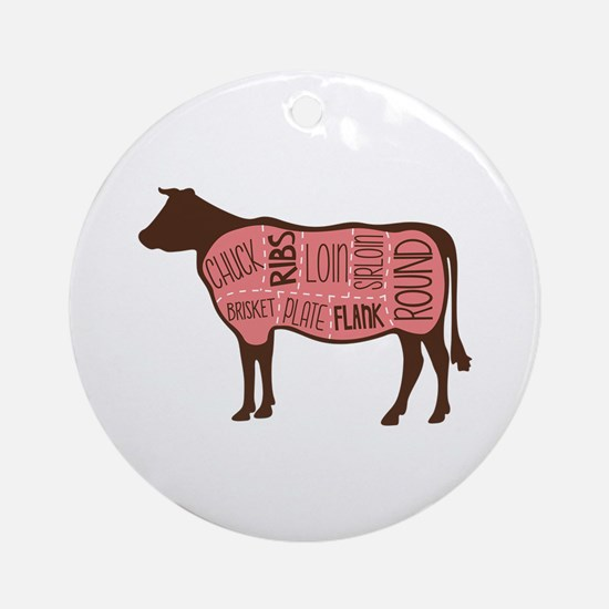 Cow Meat Cuts Diagram Ornament (Round)