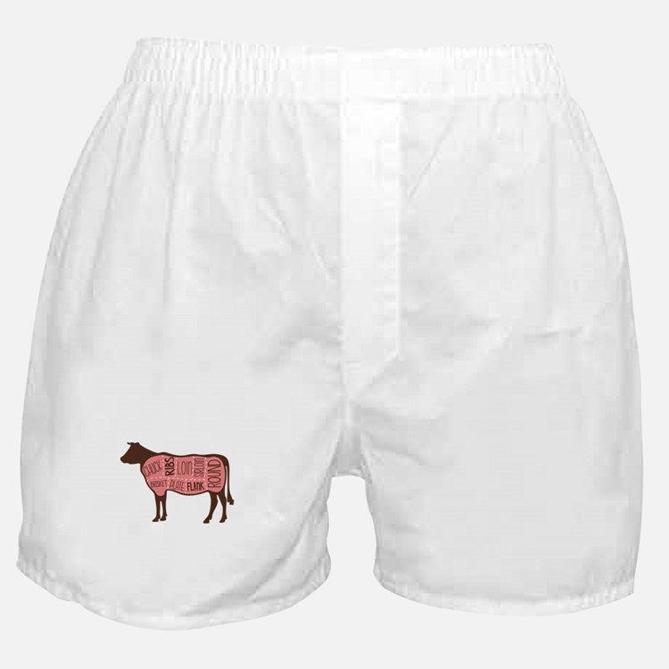 Cow Meat Cuts Diagram Boxer Shorts