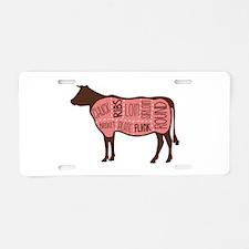Cow Meat Cuts Diagram Aluminum License Plate