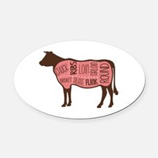 Cow Meat Cuts Diagram Oval Car Magnet