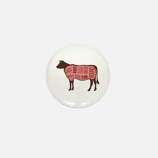 Cow Meat Cuts Diagram Mini Button