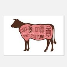 Cow Meat Cuts Diagram Postcards (Package of 8)