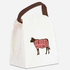 Cow Meat Cuts Diagram Canvas Lunch Bag